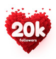 followers thank you red heart for social network vector image