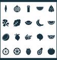 food icons set with strawberries papaya tree and vector image