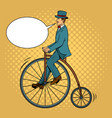 gentleman ride vintage bicycle pop art vector image vector image