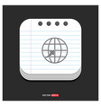 globe icon gray icon on notepad style template vector image