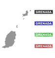 grenada map in dot style with grunge name stamps vector image