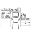 Hand drawn sketch of modern workspace with work vector image vector image