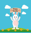 happy easter rabbit holds placard with landscape vector image