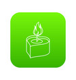 heart candle icon green vector image vector image