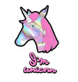 holographic unicorn patch for print on t-shirt vector image