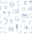 home furniture hand drawn seamless pattern vector image vector image