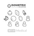 isometric outline icons set 19 vector image vector image