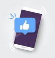 likes notification icon leaving on smartphone vector image