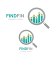 logo combination of a graph and magnifier vector image vector image