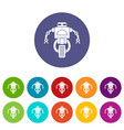 machine robot icons set flat vector image