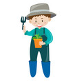 male gardener with potted plant vector image vector image
