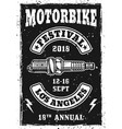 motorbike festival vintage poster with spark plug vector image vector image