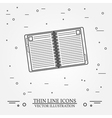 Notebook thin line design Notebook pen Icon Notebo vector image vector image
