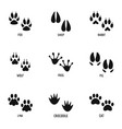 paw icons set simple style vector image