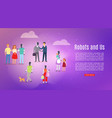 people groups and robots robotic assistance vector image