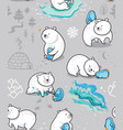 polar friendship seamless pattern with cute polar vector image