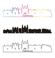 Salzburg skyline linear style with rainbow vector image vector image