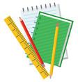 school chancellery notebook and pencil vector image vector image