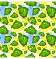 seamless pattern cabbage vegetables ornament vector image vector image