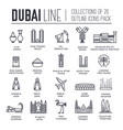 set culture symbols dubai thin line icons vector image