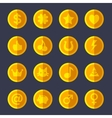 Set of flat gold coins vector image