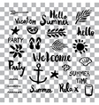 set summer sign and symbol brush stroke stains vector image