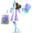 Shopping Day girl in winter vector image