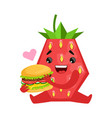 smiling strawberry sitting and holding burger vector image vector image