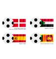 Soccer Ball of Malta Sudan Spain and Sri Lanka vector image