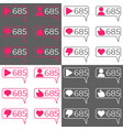 social network counters icon set vector image vector image