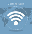 social network with planet and wifi vector image vector image