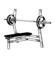 sport equipment bench barbell engraving vector image