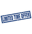 square grunge blue limited time offer stamp vector image vector image