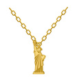 Statue of Liberty necklace gold Decoration on vector image vector image