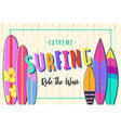 surfing poster set of surfboards vector image