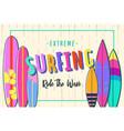 surfing poster set surfboards vector image