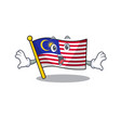 surprised flag malaysia hoisted on cartoon pole vector image vector image