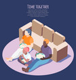 time together isometric background vector image vector image