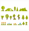 Trees Bushes and Flowers Set in Flat Style vector image vector image