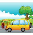 A yellow car running at the street vector image vector image