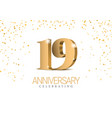anniversary 19 gold 3d numbers