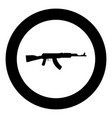 assault rifle black icon in circle isolated vector image vector image