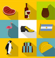 attraction argentina icon set flat style vector image vector image