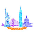 attractions united states in polygonal vector image vector image