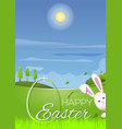 beautiful spring landscape with cute easter bunny vector image vector image