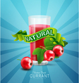 blue background with red currants fresh juice vector image vector image