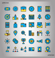 business management color line icons perfect pixel vector image vector image