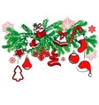 christmas decoration on tree branch vector image vector image