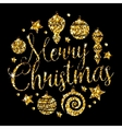 Christmas Elements With Golden Glitter vector image