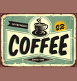 coffee shop vintage tin sign vector image